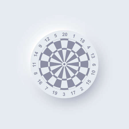 Realistic neomorphic darts board isolated on white background. Dartboard with twenty sectors, target, game competition. Vector illustration of game mockup, metaphor of hit bullseye, goal achievement.