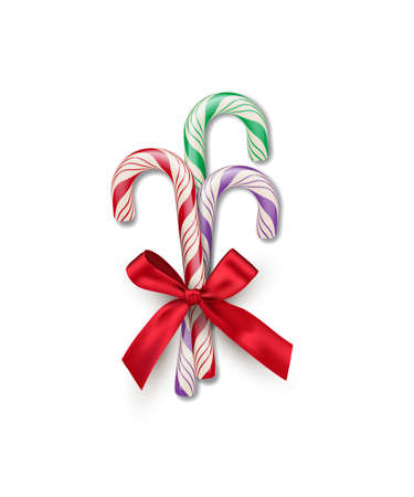 Three different color striped candy canes with red bow isolated on white background. Vector Christmas and New Year design element. Vetores