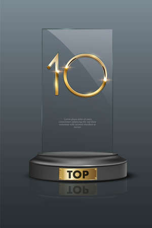 Top 10 rectangular award trophy. Glass prize with gold number 10. Champion glory in competition vector illustration. Hollywood fame in film and cinema or championship in sport