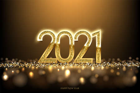 Happy new year banner vector template. Winter holiday, christmas congratulations. Festive postcard, luxurious greeting card concept. 2021 number with golden glitter illustration with text space.