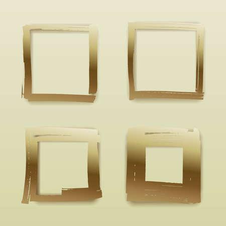Set of golden frames square forms, paintings marker or art brush