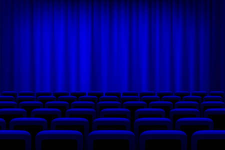 Theater with blue curtains and seats background. Empty cinema auditorium vector illustration. Film or show presentation or performance event. Watching entertainment scene