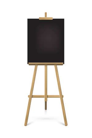 Easel with black vertical paper sheet. Vector realistic design element isolated on white background.