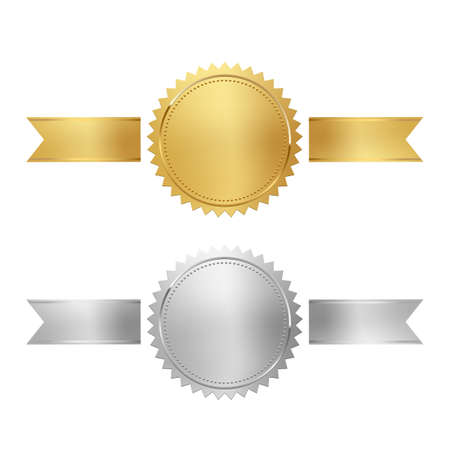 Golden and silver stamps with horizontal ribbons isolated on white background. Luxury chrome seals. Vector design elements.