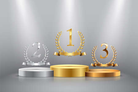 Winner background with golden, silver and bronze laurel wreaths with ribbons and first, second and third place signs on round pedestal isolated on gray. Vector winner podium sports symbols. 向量圖像