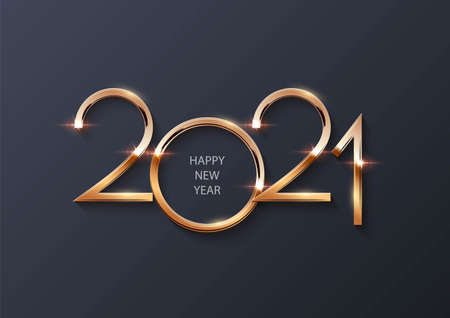 Glowing shiny golden new 2021 year number symbol on gray background. Festive winter holiday merry Christmas decoration. Vector 2021 New Year illustration.