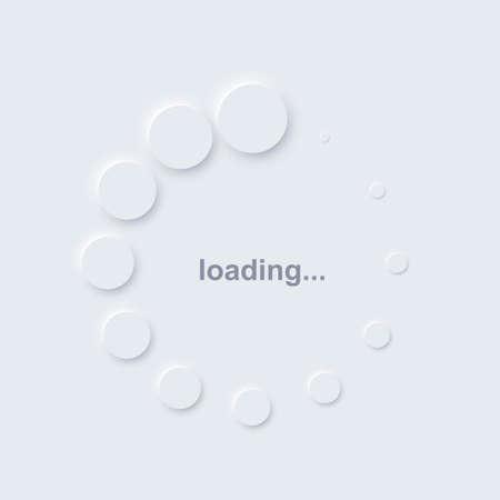 Loading icon symbol on computer. White circles indicating download or upload progress. Web page or site loader process vector illustration. App or pc web browser indicator Ilustração