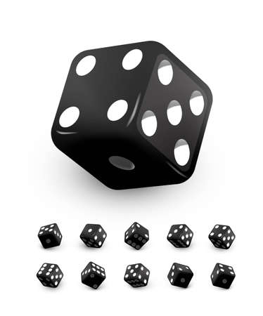 Black dice cubes for gambling set. Casino craps and playing games vector illustration. Poker cubes rolling and throwing, random numbers with dots isolated on white background.