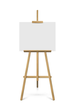 Easel with white horizontal paper sheet. Vector realistic design element isolated on white background.