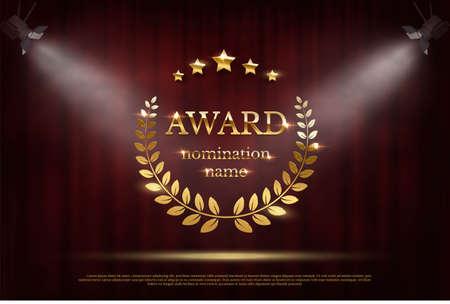 Award nomination emblem, stage in spotlight with red curtain background. Movie award ceremony opening, celebration event, announcement vector illustration. Film theatre scene Vektorgrafik
