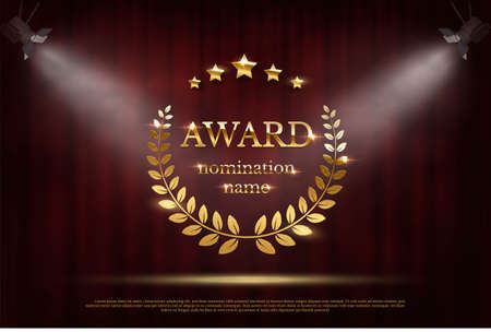 Award nomination emblem, stage in spotlight with red curtain background. Movie award ceremony opening, celebration event, announcement vector illustration. Film theatre scene Vetores