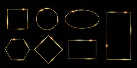 Rectangular and round golden photo or picture frames in different proportions and sizes isolated on black background. Vector luxury borders set. Square, rectangle, oval, rhombus, hexagon and circle