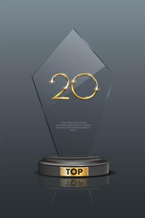 Top 20 award trophy. Glass prize with gold number twenty. Ilustração