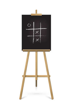 Easel standing with black board. Blank blackboard on wooden tripod for art, painting, drawing or announcement vector illustration. Equipment with game in chalk on white background