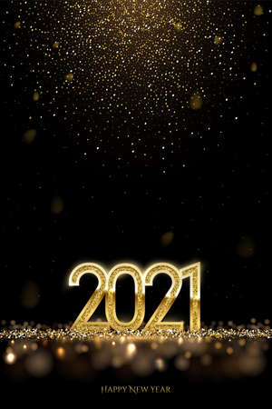 Happy new year banner vector template. Winter holiday, christmas congratulations. Festive postcard, luxurious greeting card concept. 2021 number with golden glitter illustration with text space. Vector Illustration
