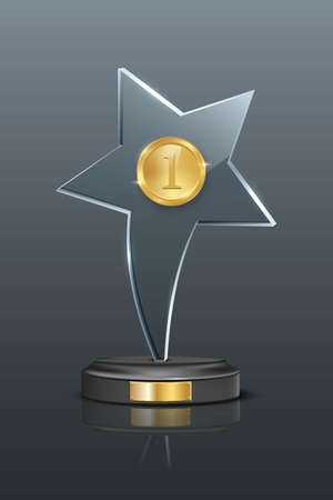 First place award trophy. Star shaped glass prize with gold number one on podium. Champion glory in competition vector illustration. fame in film and cinema or championship in sport