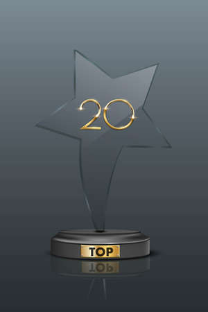 Top 20 award trophy. Star shaped prize with gold number twenty. Champion glory in competition vector illustration. fame in film and cinema or championship in sport