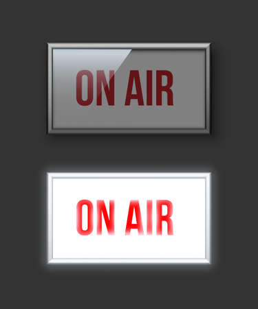 On air switched off and glowing red sign vector illustration. Live show banner. News, radio and television broadcast. Shiny neon light box on gray backdrop. Record studio