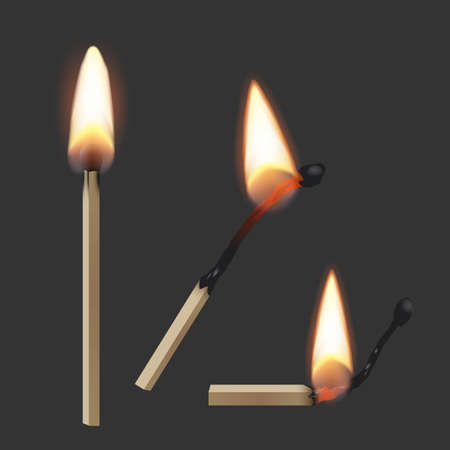 Lit match stick burning with fire flame set. Wooden matches, hot and glowing red isolated on dark background. Abstract realistic vector illustration