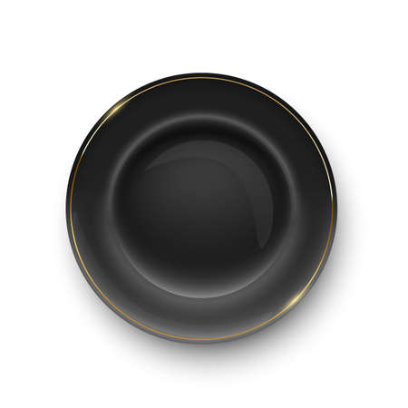 Black plate with gold border for dishes. Top view of empty clean kitchen plate vector illustration. Round realistic simple tableware object on white background. Dinner or breakfast