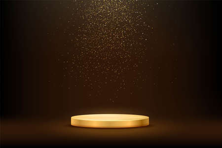 Golden podium under falling gold glitter isolated on dark background. Vector illustration. Vettoriali