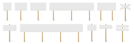 Signposts and banners with blank boards set. Wooden sticks with white signs vector illustration. Retro street direction posts isolated on white background. Simple empty information placards