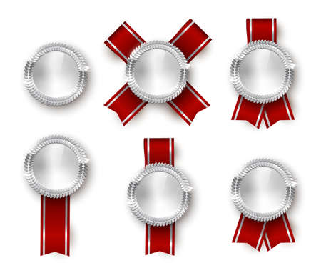 Award medal 3d realistic vector color illustration set. Reward, silver medals with red ribbons. Certified product. Quality badges, emblems with red ribbon. Winner trophy. Isolated design element set. Vettoriali