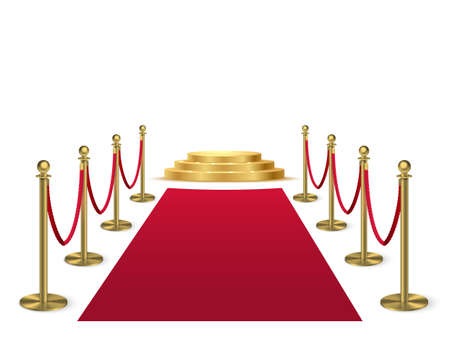 Red carpet with stanchions leading to golden podium. Award hall of fame vector illustration. Ceremony Hollywood movies award event. Realistic velvet carpet with fence and stage on white background