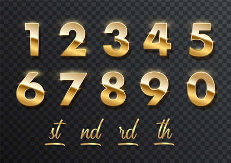 Gold numbers with endings made of golden ribbons isolated on transparent background. Vector decorative design elements