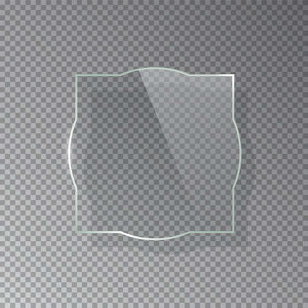 Realistic 3d glass frame isolated on grey transparent background. Creative border plate object. Vector blank framework.