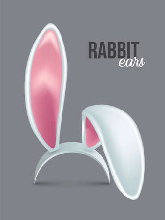 Rabbit ears realistic 3d vector illustration. Easter bunny ears kid headband, mask collection. Hare costume pink cartoon element. Photo editor, booth, video chat app color isolated on gray clipart.