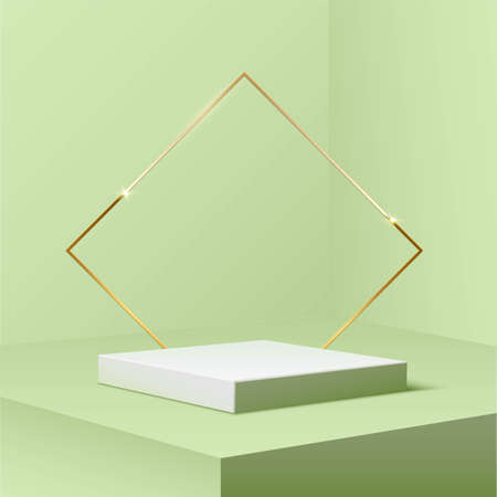 Square golden podium with rhombus frame standing on green pastel background. 3d pedestal for product vector illustration. Gold stage with rectangle glowing in sparkles. Abstract realistic decoration Vettoriali