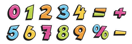 Math numbers and symbols set. Cute school mathematics elements for children vector illustration. Colorful numerical signs, minus, plus, equal, percentage on white background Vettoriali