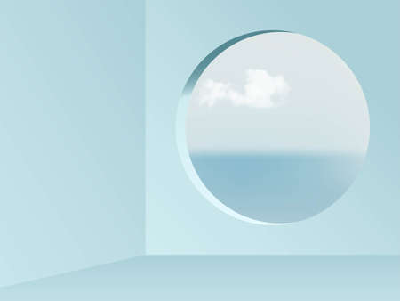 Round window view from blue empty room abstract background. View on blue sky, sea and clouds vector illustration. Abstarct minimal interior design of walls, floor and circular window Vettoriali