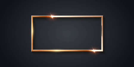 Golden rectangle frame for picture on gray background. Blank space for picture, painting, card or photo. 3d realistic modern template vector illustration. Simple gold object on wall Vettoriali