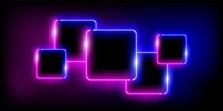 Glowing neon pink and blue squares set abstract background. Lines with electric light frames. Geometric fashion design vector illustration. Empty minimal shapes decoration on black with fog