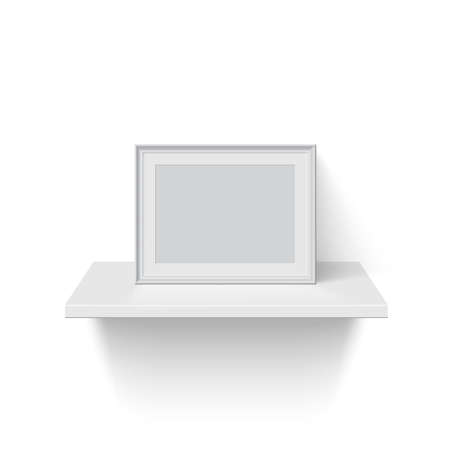 Frame for picture on white shelf. Blank horizontal space for picture, painting, card or photo. 3d realistic modern template vector illustration. Simple office object on white background