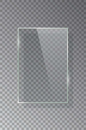 Realistic 3d vertical rectangular glass frame isolated on grey transparent background. Creative border plate object. Vector blank framework.