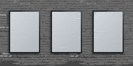 White vertical glued blank billboards on brick wall background