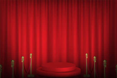 Red podium with stanchions leading, curtain in background. Award hall of fame vector illustration. Hollywood movies ceremony event. Realistic scene with fence and stage indoor