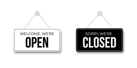 Black Closed and White Open signboards hanged on suction cup. Rectangular shape clipboard for retail, shop, cafe, bar, restaurant. Announcement template with opportunity to visit on white backdrop.