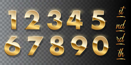 Golden numbers isolated on transparent background. Vector design elements. Vettoriali