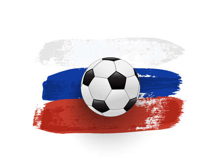 Abstract brush painted national flag of Russia with soccer ball Vettoriali