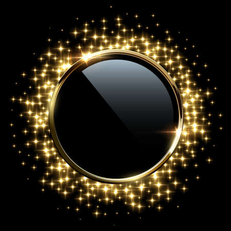 Golden sparkling ring with glitter isolated on black background. Vector luxury golden frame.