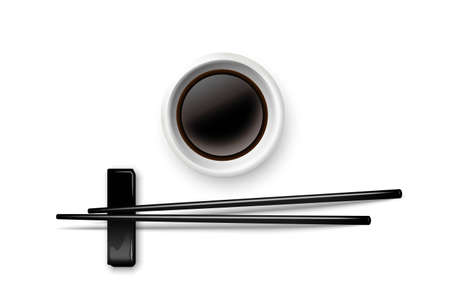 Sushi chopsticks and soy sauce in bowl. Chinese or Japanese cuisine elements for eating vector illustration. Black wooden pair of sticks and plate with soya on white background Vettoriali