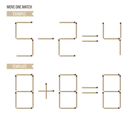 Move onr matchstick game example and template. Math and logic puzzle for kids vector illustration. Educational exercise with math equation in matches for children on white background