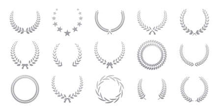 Black laurel wreaths isolated on white background. Set of award wreath for championship or cinema festival. Vector illustration.