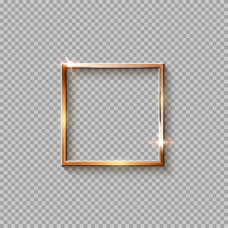 Golden square frame for picture isolated on transparent background. Blank space for picture, painting, card or photo. 3d realistic modern template vector illustration. Simple gold object on wall