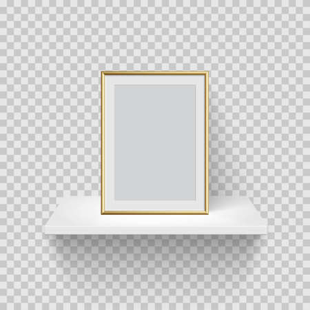 Gold vertical frame for picture on white shelf. Blank space for picture, painting, card or photo. 3d realistic modern template vector illustration. Simple office object on transparent background