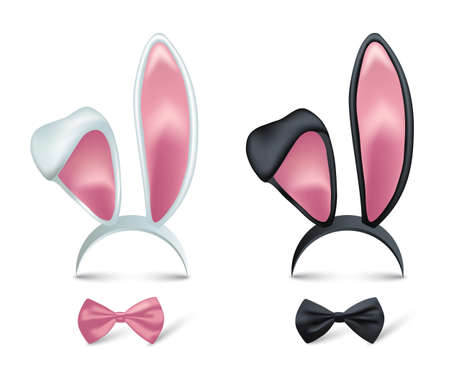 Rabbit ears and bows realistic 3d vector illustrations set. Easter bunny kid headband, mask collection. Hare costume pink cartoon element. Photo editor, booth, video chat app color isolated cliparts.